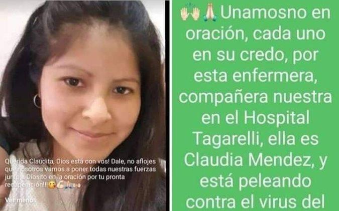 Piden cadena de oración por una joven enfermera del Tagarelli que tiene Covid-19 y está en terapia