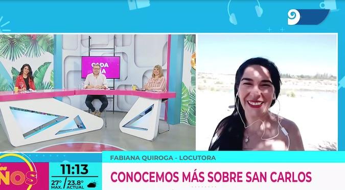 Fabi Quiroga: una hermosa y profesional presentación de San Carlos en un importante programa de TV