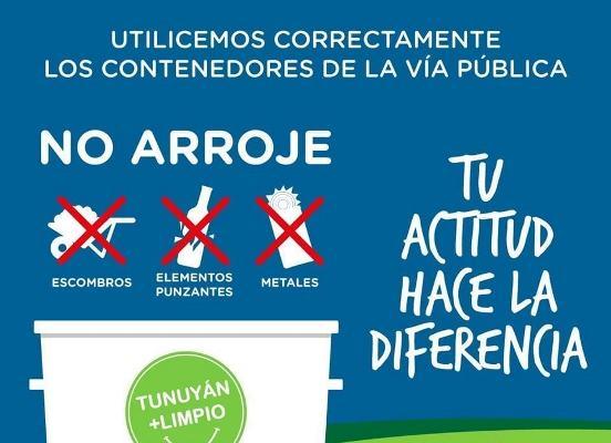 El Municipio de Tunuyán recordó cómo usar correctamente los contenedores de la vía pública