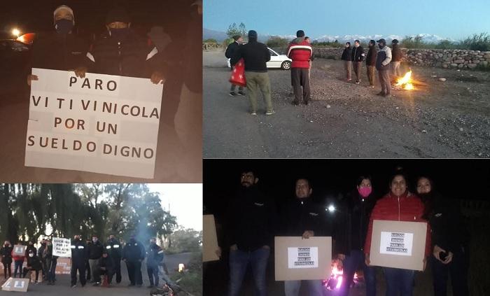 Paro vitivinícola: trabajadores del Valle de Uco reclaman mejoras salariales afuera de las bodegas