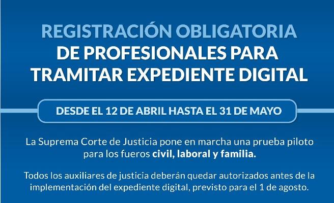 Comenzó la registración obligatoria de profesionales para el expediente digital en la Justicia